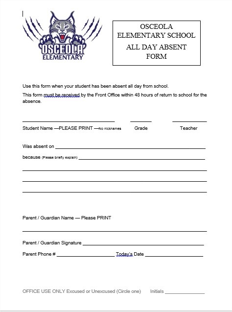 osceola elementary absent form parents use this form when your student has been absent from school osceola absent form